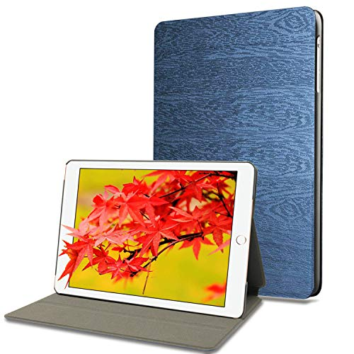 iPad 9.7 2018/2017, iPad Air 2, iPad Air Case with Auto Wake/Sleep Function, HBorna Multi-Angle Viewing Tree Texture Cover for Apple iPad 9.7 inch 5th / 6th Generation iPad Air1 / Air2, Dark Blue by HBorna