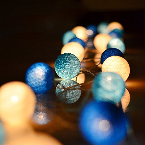 cotton ball string lights blue - 2