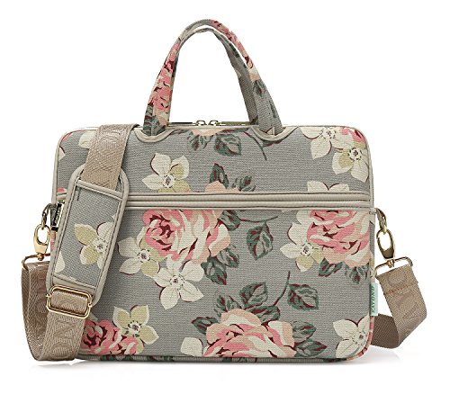 kayond White Rose Canvas Fabric 15.6 inch Shoulder Bags