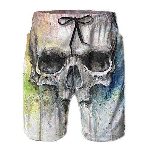 Skull Watercolor Painting Men's Slim-Fit Fashion Board Shorts Outseam, Ultra Quick Dry, Lightweight, No Mesh Lining