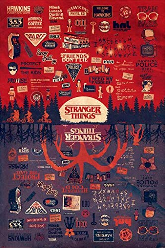 Stranger Things - TV Show Poster (The Upside Down - Infographic - Quotes & Pictograms) (Size: 24