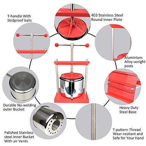 EJWOX 1.6 Gallon Stainless Steel Soft Fruit Wine Juice Press Cheese Making Press by EJWOX (Image #2)