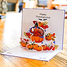 Paper Spiritz Pop up Thanksgiving Card - Thanksgiving Day Thank You Card Turkeys and Pumpkin Greeting Card with Envelope