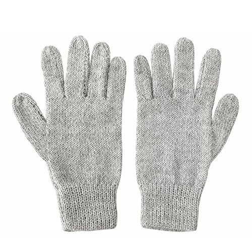 (The Alpaca Collection, 100% Alpaca Wool Knit Gloves Lt Gray Large)