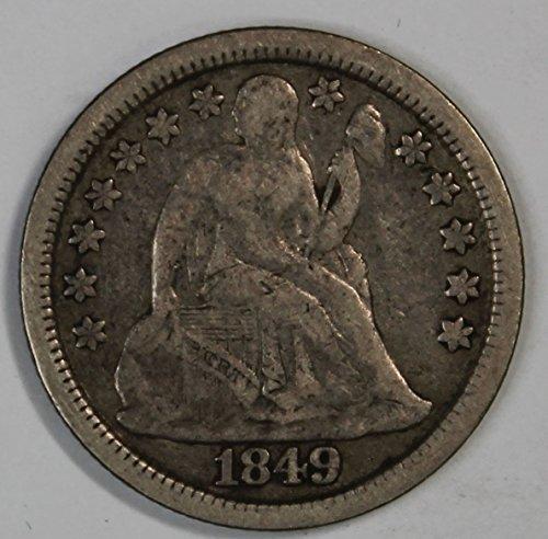 1849 Seated Liberty Dime 10c Fine