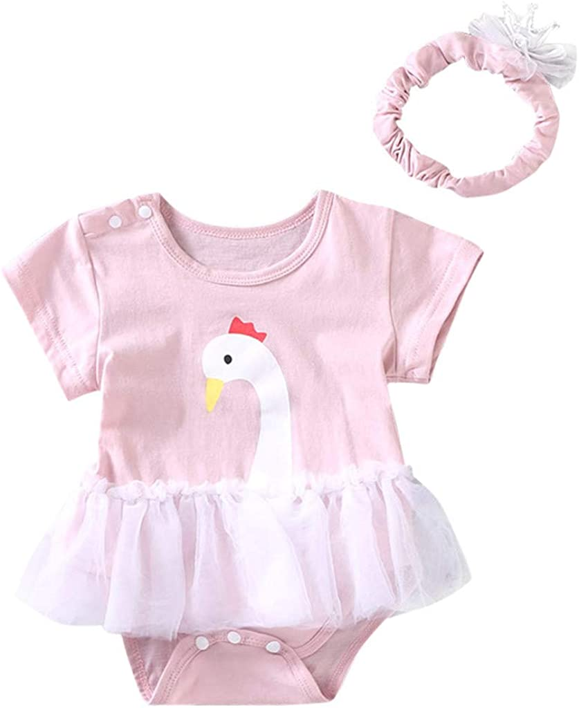 LiLiMeng Newborn Infant Baby Kids Girls Cartoon Swan Flower Lace Tulle Romper Jumpsuit Headband Set