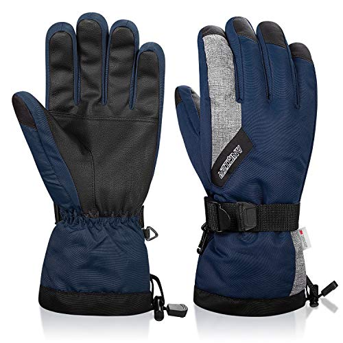 LANYI Winter Gloves for Men Women 3M Thinsulate Waterproof Ski Thermal Black Gloves Snowboard Driving Fleece Snow Gloves Warm Cold Weather Gloves (Navy Blue, L)