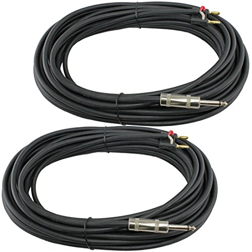 ZaZaTool - 2x 50 FT foot pro audio 1/4 to dual banana plug speaker cable PA 16 - Premium Ga In Outlets
