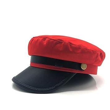 Bin Zhang 2019 Hombres Mujeres Gorra de Boina de Cuero Rojo Negro ...