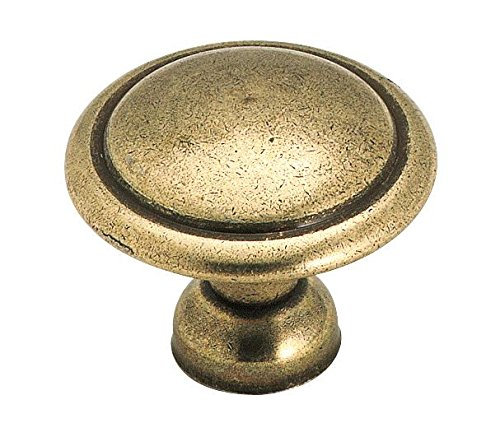 Amerock 848LB Allison Round Cabinet Knob, 1-1/8 in Projection, 1-3/8 in Dia, Die Cast Zinc, 1-3/8-Inch, Light Antique Brass