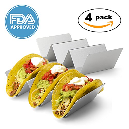 Stainless Steel Taco Holder Set of 4 - Taco Rack Holds Three Tacos - Taco Holders for Baking, Grilling Hard or Soft Shells Taco Stand - (4 Rack)