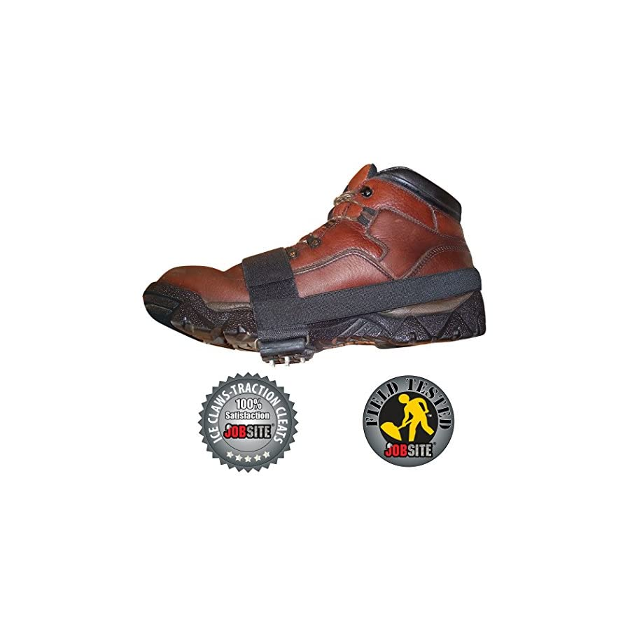 Jobsite Ice Claws Snow and Ice Traction Cleats Easily Grips Over Boots and Shoes One Size Fits Men and Women