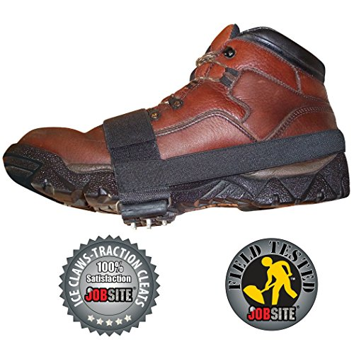 JobSite Ice Claws Snow & Ice Traction Cleats Lightweight No Slip Studded Grips Prevent Slipping on Snow & Ice Fits All Shoe & Boot Styles