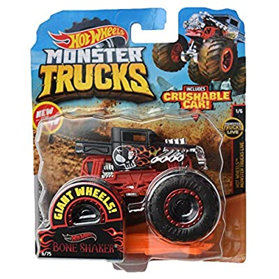 Hot Wheels Monster Trucks 1:64 Scale Bone Shaker Crushable Car 6/75, Black/red: Toys & Games