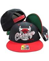 Chicago Bulls Black Two Tone Plastic Snapback Adjustable Plastic Snap Back Hat / Cap