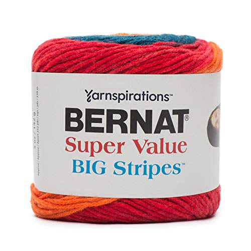 Bernat Super Value Big Stripes Yarn, 5 oz, Carnival, 1 Ball