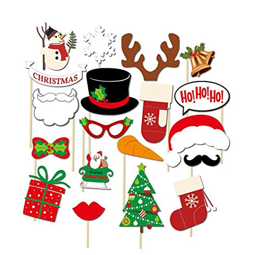 UPC 608506852057, Holiday Ho Ho Ho Photo Booth Props DIY Kit - Merry Christmas Party Favors Decorations - 19 pcs