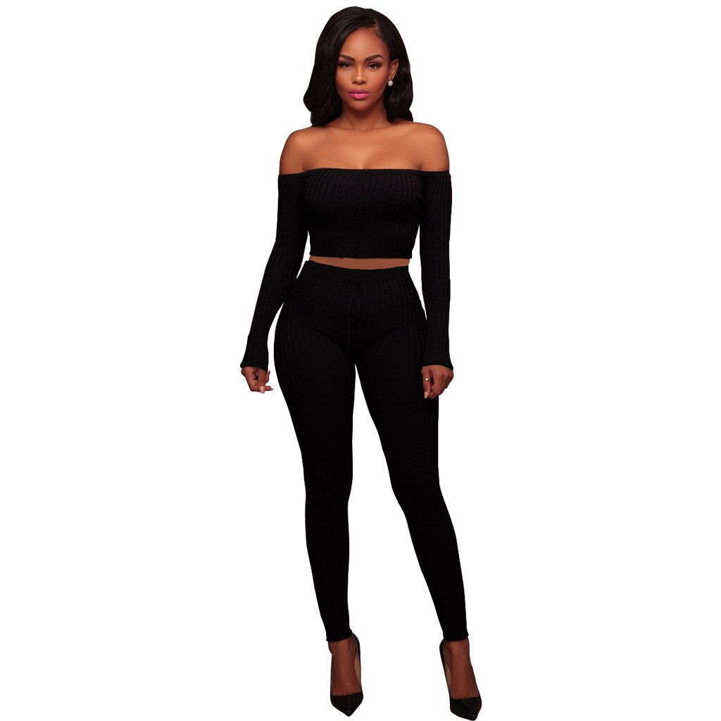 Women's Girls Sexy Two Pieces Solid Outfits Long Sleeve Crop Top Shirts + Slim Fit Pants Bandage Club Jogging Sports Suit Black L