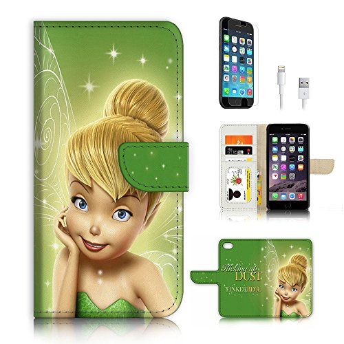 ( For iPhone 6 / iPhone 6S ) Flip Wallet Case Cover & Screen Protector & Charging Cable Bundle! A4266 Tinkerbell