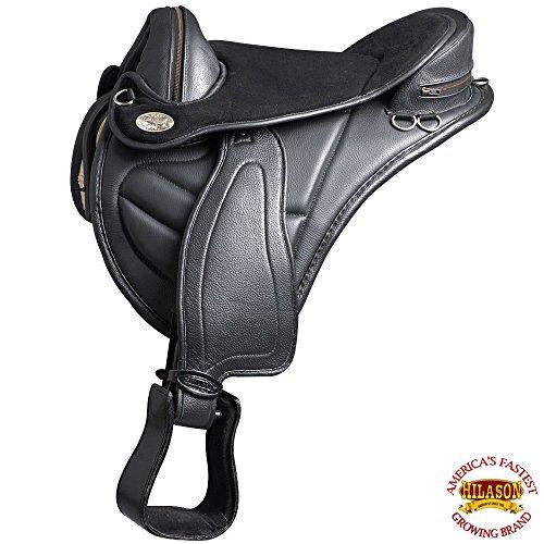 HILASON 16 English Treeless Horse Saddle Endurance Trail Pleasure Leather
