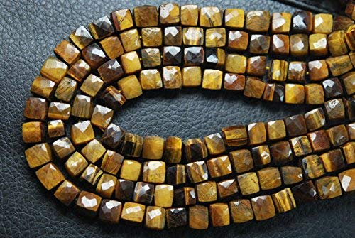 Tiger Eye Faceted 3D Cube Shape Briolettes, 7-8mm Size by Gemswholesale