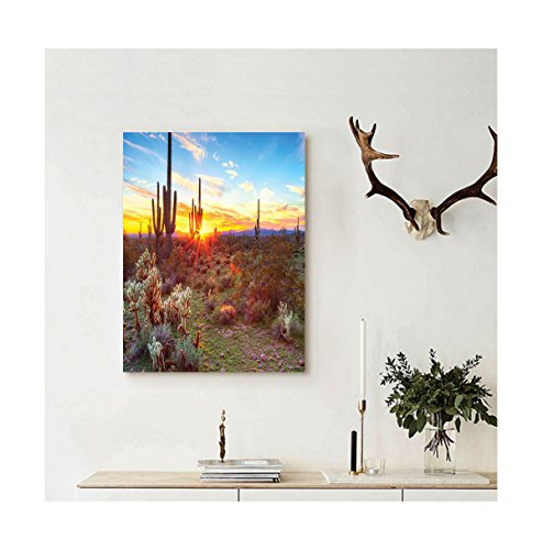 Liguo88 Custom canvas Saguaro Cactus Decor Collection Sun Is Setting Between Saguaros Wildflowers In Sonoran Desert Scene Picture Wall Hanging