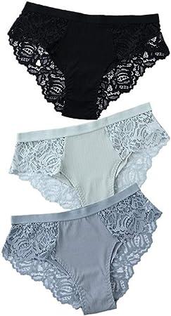 ZZLLFF 3 Piezas de algodón Bragas Panty Atractivo Briefs del cordón de Las Bragas de Las