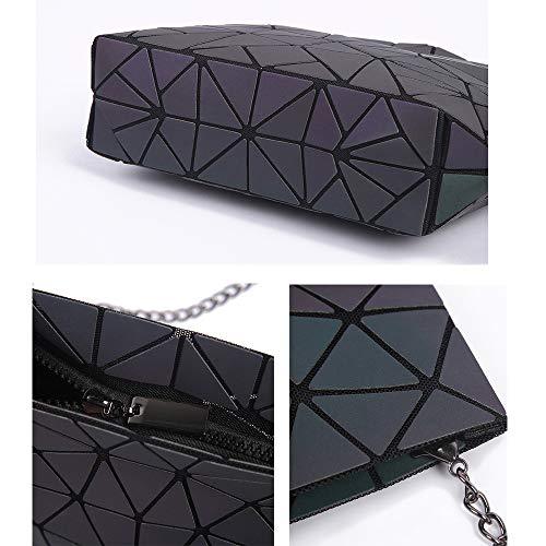for PU Crossbody Handbag Magibag Bag Leather Triangle Geometric Purse Chain Women Shoulder Girls Lattice 4wq4Xpx8