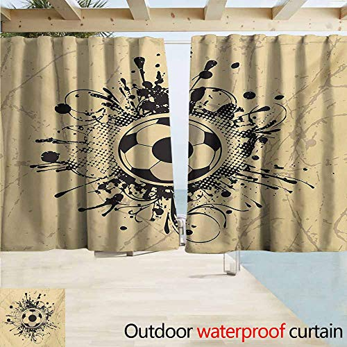 AndyTours Outdoor Waterproof Curtains,Sports Football Abstract Modern Design with Digital Splash Like Details Artistic Print,Rod Pocket Energy Efficient Thermal Insulated,W63x45L Inches,Tan and Black