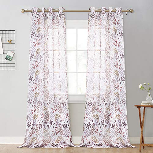 NICETOWN Natural Style Pattern Sheer Curtains - Faux Linen Sheer Semi-Transparent Printed Creative Forest Leaves Pattern for Sliding Glass Door (Mocha Forest Leaves, W52 x L95, 2 Pcs) ()