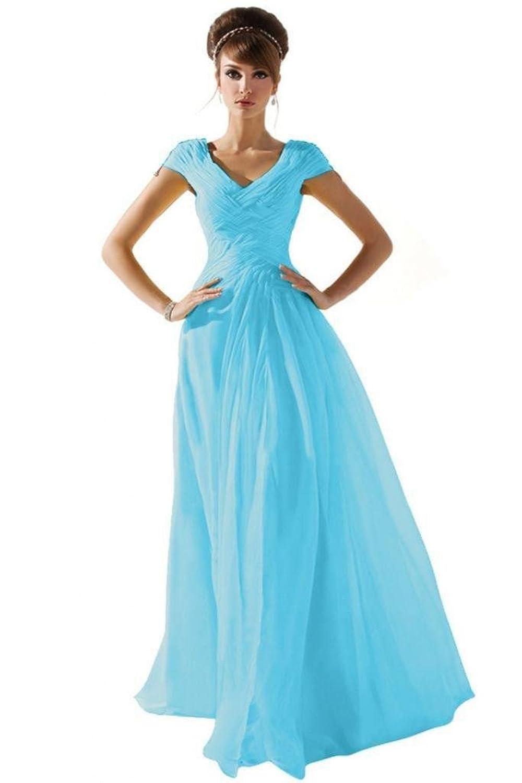 Amazon.com: Dearta Women\'s A-Line V-Neck Short Sleeve Floor Length ...