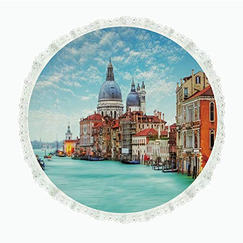 yester Linen Tablecloth,Italy,Grand Canal and Basilica Santa Maria Della Salute Historical Architecture,Blue Turquoise Orange,for Dinner Kitchen Home Decor ()