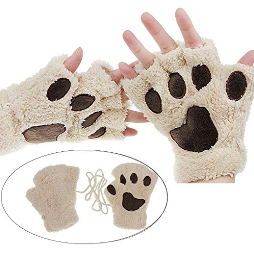 YLucky Cartoon Bear Cat Palm Claw Gloves Half Finger Dog Paw Gloves Winter Warm Plush Faux Fur Mittens Short Fingerless Hand Wear with Drawstring for Cosplay Costume Christmas Girl Women -