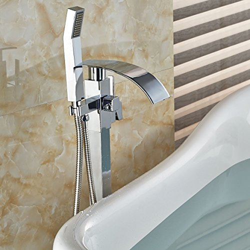 Rozin Floor Mounted Bathtub Faucet Waterfall Spout with Handheld Shower Chrome Finish