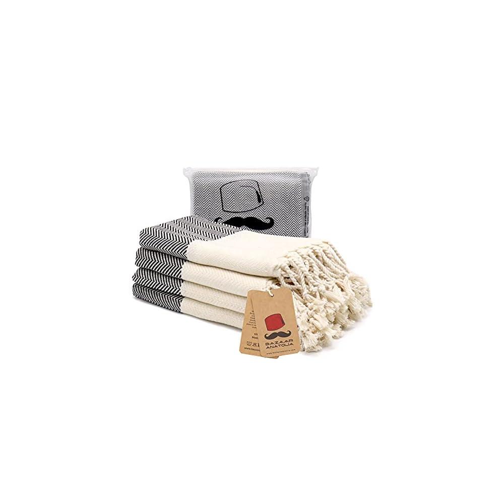 Turkish Hand Towel Set of 4 Herringbone Peshtemal Towel 100% Cotton 45x20 Light Weight Thin Quick Dry Hand Bath Hair Gym…