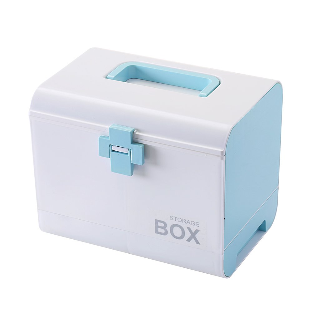 IMPR3 TREE Plastic Child Proof Security Storage Box Organizer Medicine Box Family Emergency Kit (Blue)