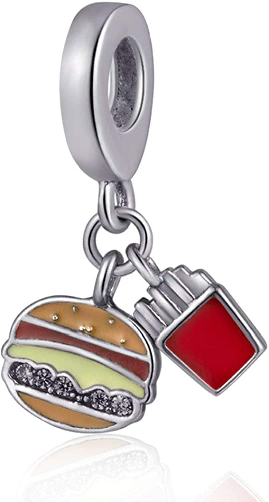 Hamburger Dangle Charm 925 Sterling Silver Fruits Charm Beads for Fashion Charms Bracelet & Necklace