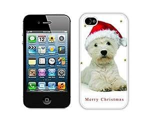 2014 Newest Christmas Dog White iPhone 4 4S Case 2