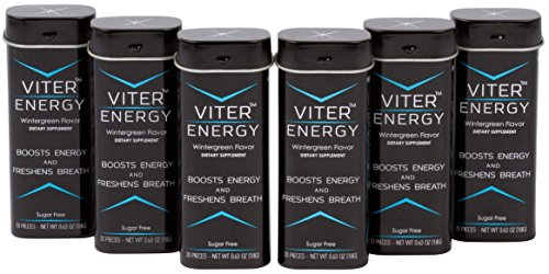 Caffeine Wintergreen Mints 40mg Caffeine & B-Vitamin Complex Per Mint. Sugar Free, Strong Flavor, 2 Mints = 1 Coffee/Energy Drink, Focus Boost Caffeinated Candy Powerful Fresh Breath by VITER ENERGY
