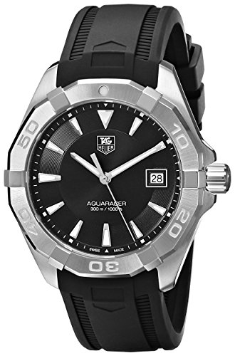 TAG Heuer Men's WAY1110.FT8021 300 Aquaracer Stainless Steel Watch with Black Rubber - Strap Heuer Tag Rubber