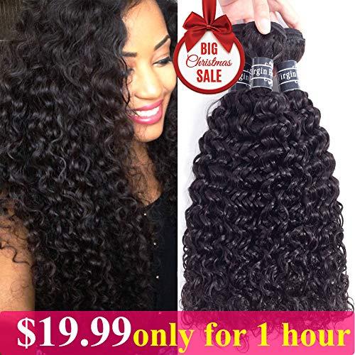 Remy Hair Human (Amella Hair Brazilian Virgin Curly Hair 3 Bundles Hair Extensions 8A Brazilian Kinkys Curly Hair Remy Human Hair Weave Natural Color (12 14 16))