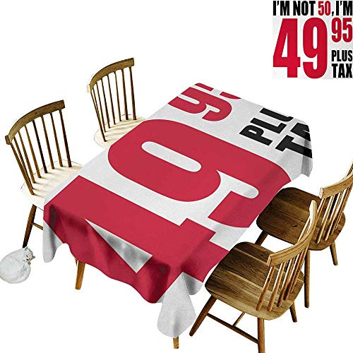 50th Birthday Elastic edges fit the rectangular tablecloth Hilarious Catchphrase Old Age Fifthy Feeling Young Humorous and Funny Suitable for most home decor W70 x L120 Inch Red Black White -