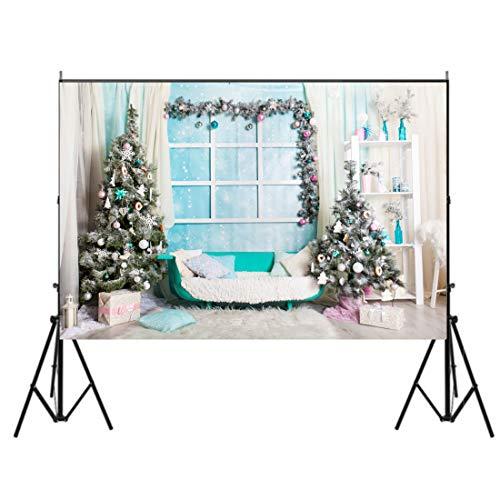 Lelinta - Paño de Navidad para fotografía personalizado, 152,4 x 182,8 cm, Xmas Wreath Greetings, 7X5FT
