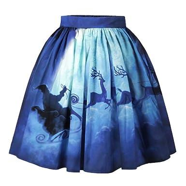 Lenfesh Falda Mujer Navidad Mini Falda Feliz Navidad Mini Vestido ...