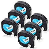 Absonic Tape Cassette Refills 16952 Clear Plastic Label Tape Compatible for Dymo LetraTag Label Maker QX 50 LT100H LT100T Plus (1/2'' x 13', 12mm x 4m, Black on Clear) - 6 Pack