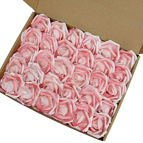 MACTING Artificial Flower Rose, 30pcs Real Touch Artificial Roses for DIY Bouquets Wedding Party Baby Shower Home Decor(Sprinkling Pink)