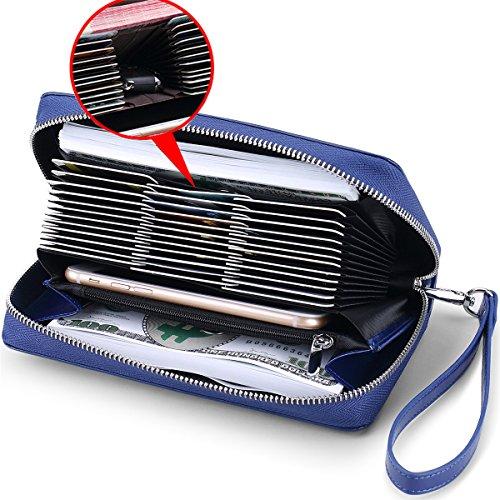 Huztencor Zipper Wallet Women Credit Card Holder RFID Blocking Leather Wallets Zip Around with Checkbook Passport Holder Coin Phone Pocket Wrist Strap Wristlet 36 Slots Large Capacity Blue -