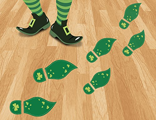 Patricks Leprechaun (48Ct St. Patrick's Day Decorations Leprechaun Footprints Floor Clings- Shamrock Party Decorations Decals Stickers)