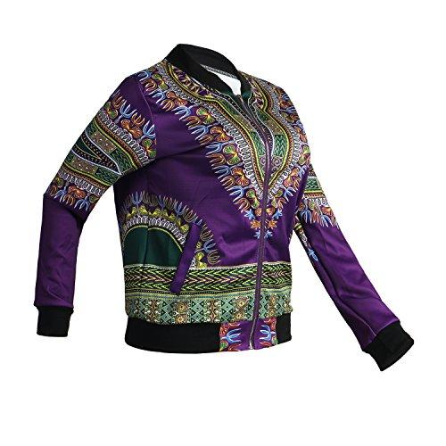 Women's Long Sleeve Vintage Traditional African Print Classic Baseball Short Biker Bomber Jacket Coat Purple, Medium by PrettySoul (Image #3)