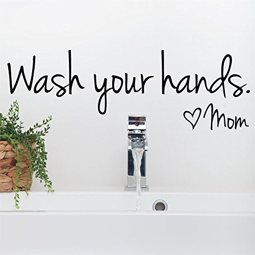 Letters Wall Decor Stickers Wash Your Hands Wall Sticker Bathroom Kitchen Decoration Love Mom Removable Adhesive